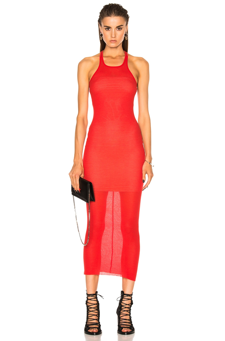 Image 1 of Rick Owens Rib Cotton Tank Dress in Red