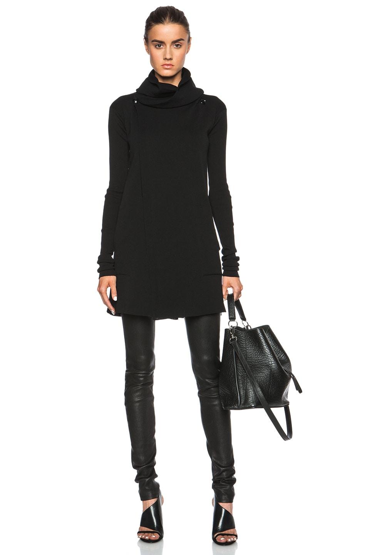 Rick Owens Hooded Biker Cotton Sweater Coat in Black | FWRD