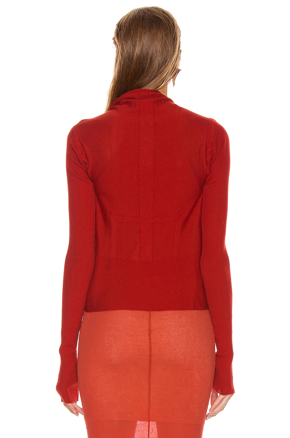 Image 3 of Rick Owens Short Wrap Cardigan in Cardinal Red