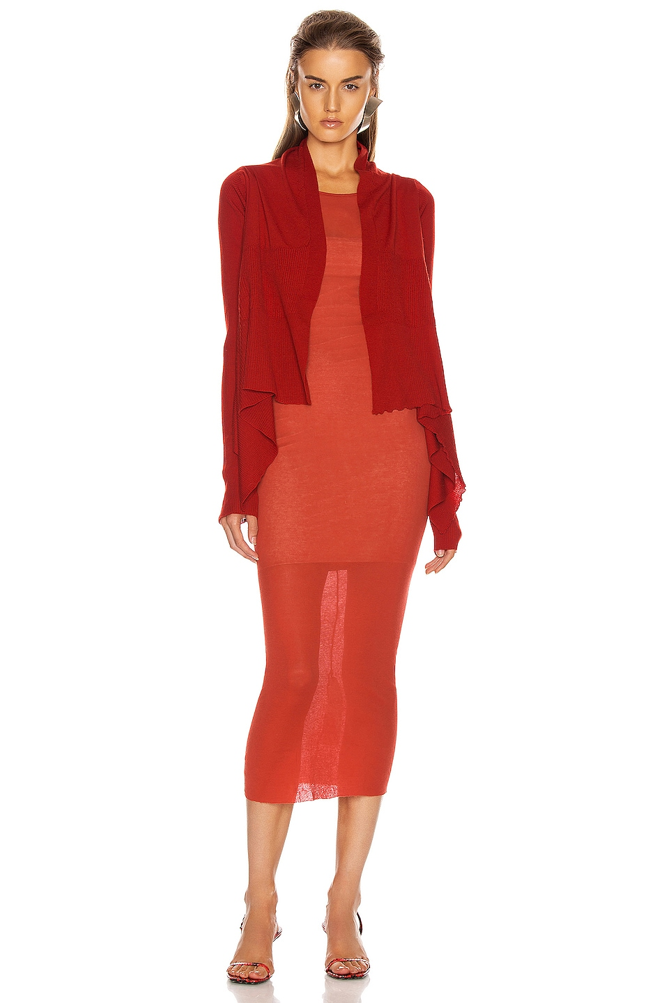 Image 4 of Rick Owens Short Wrap Cardigan in Cardinal Red