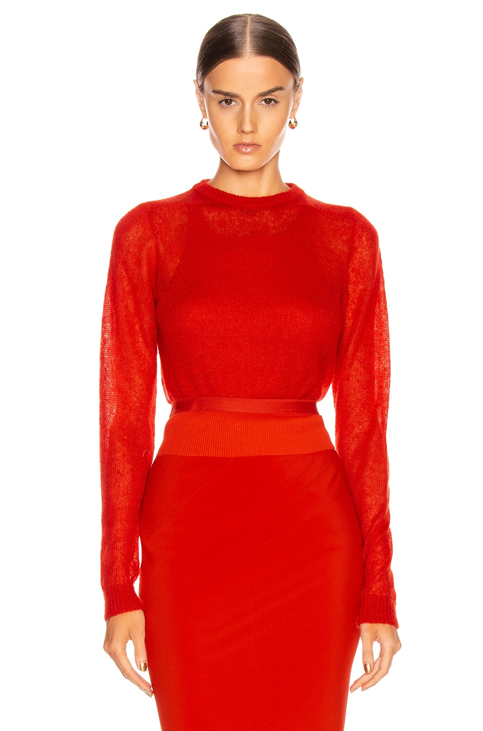 Image 1 of Rick Owens Biker Round Neck Sweater in Cardinal Red