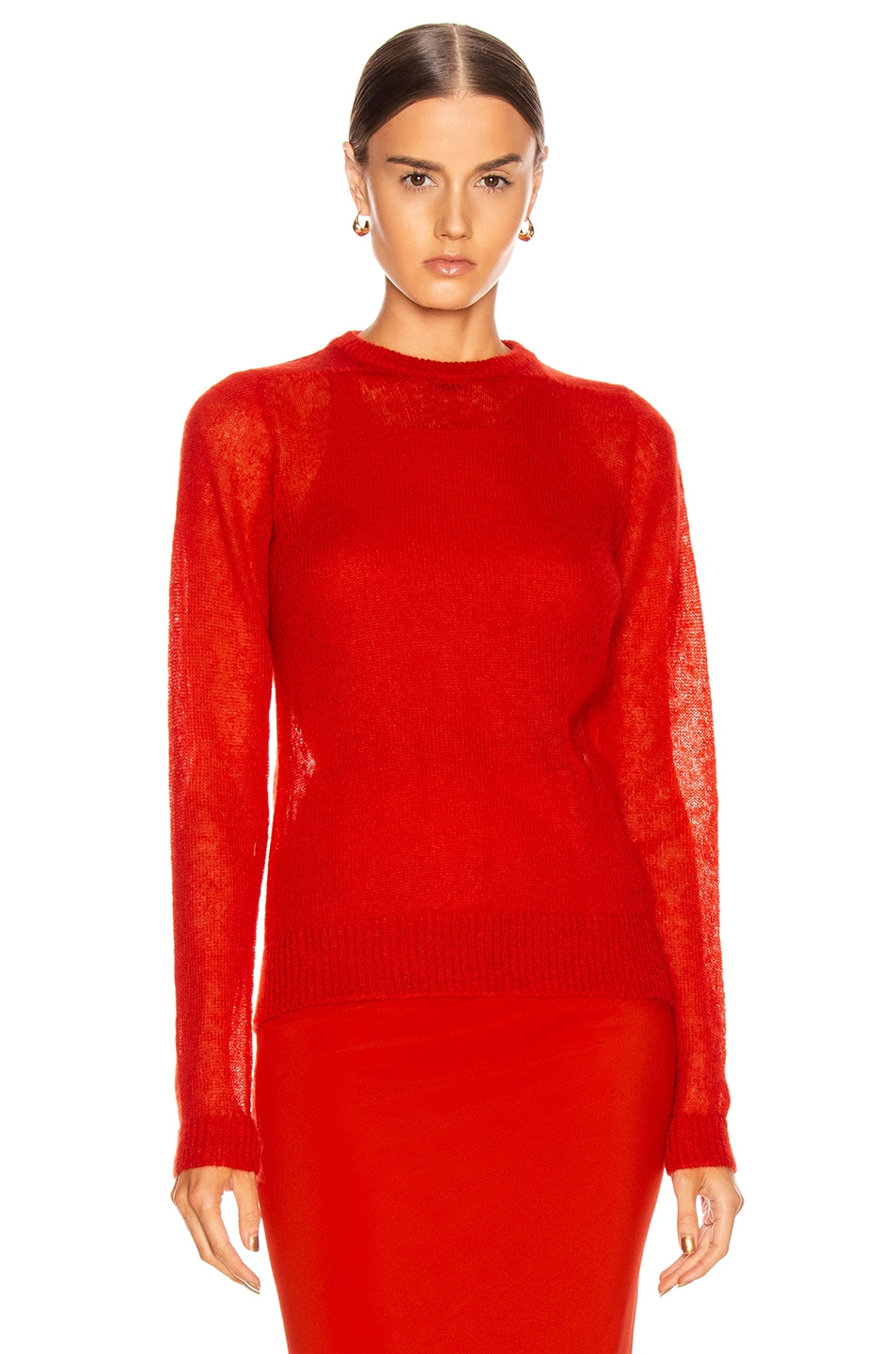 Image 2 of Rick Owens Biker Round Neck Sweater in Cardinal Red