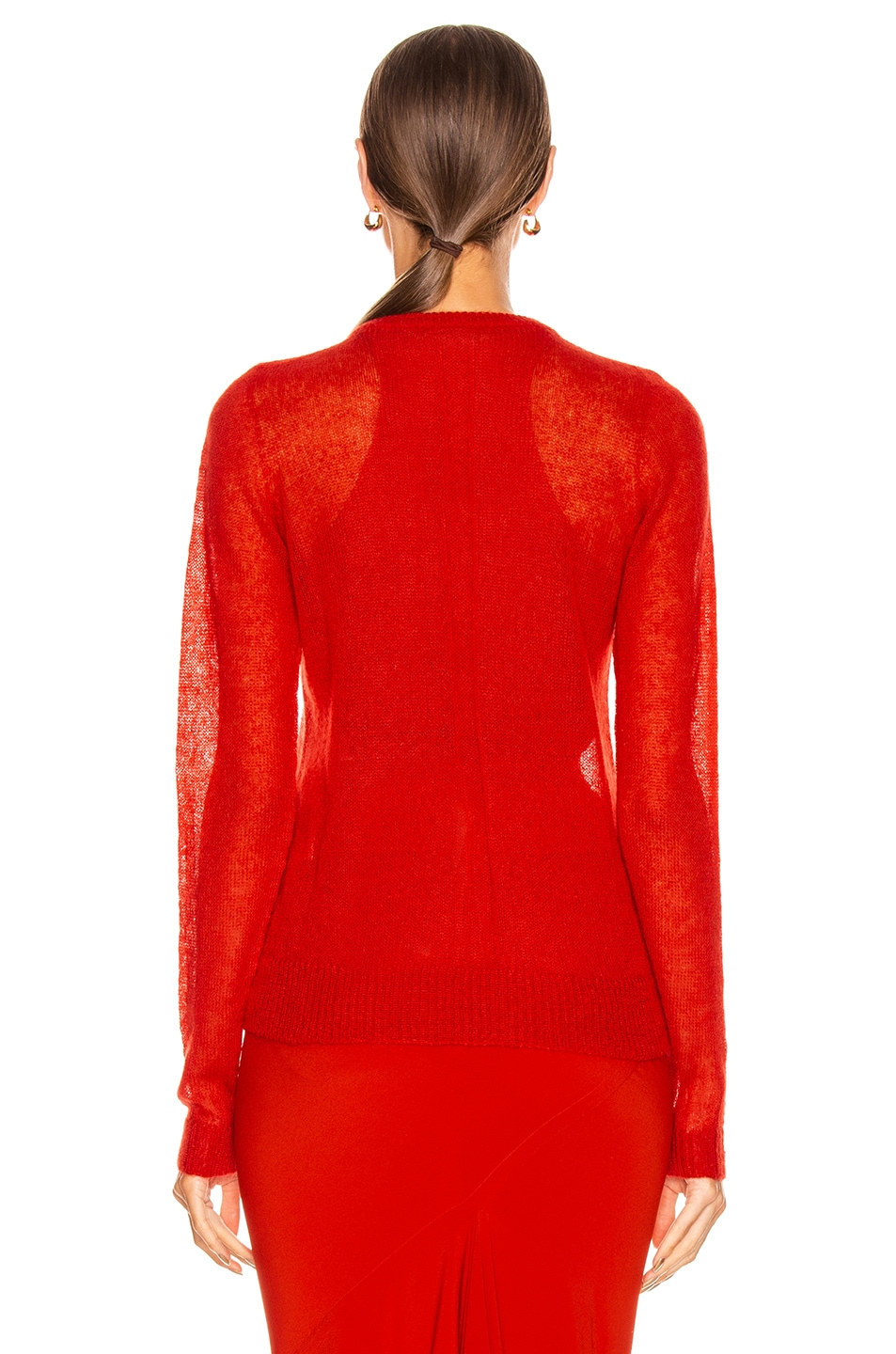 Image 4 of Rick Owens Biker Round Neck Sweater in Cardinal Red