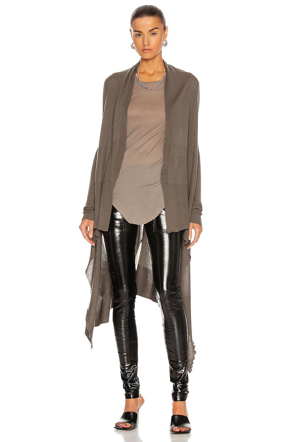 Image 1 of Rick Owens Long Wrap Cardigan in Dust
