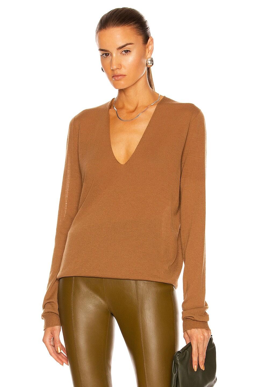 Image 1 of Rick Owens Soft V Neck Sweater in Honey