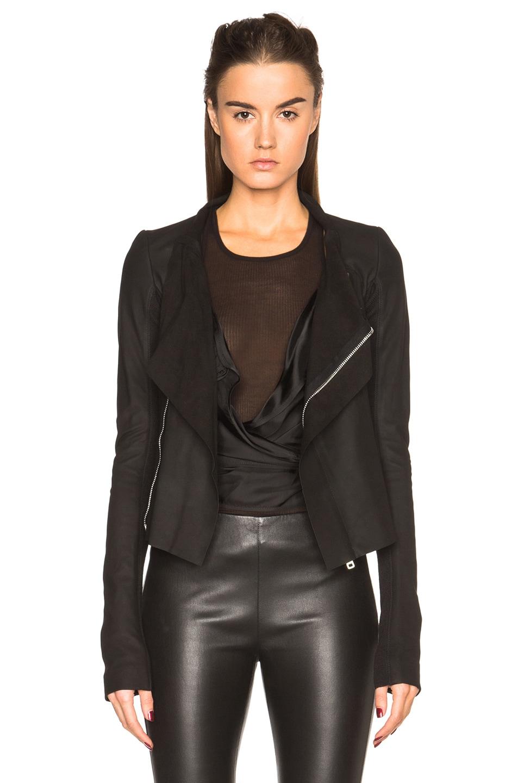 Image 1 of Rick Owens Nuvola Leather Low Neck Biker Jacket in Black