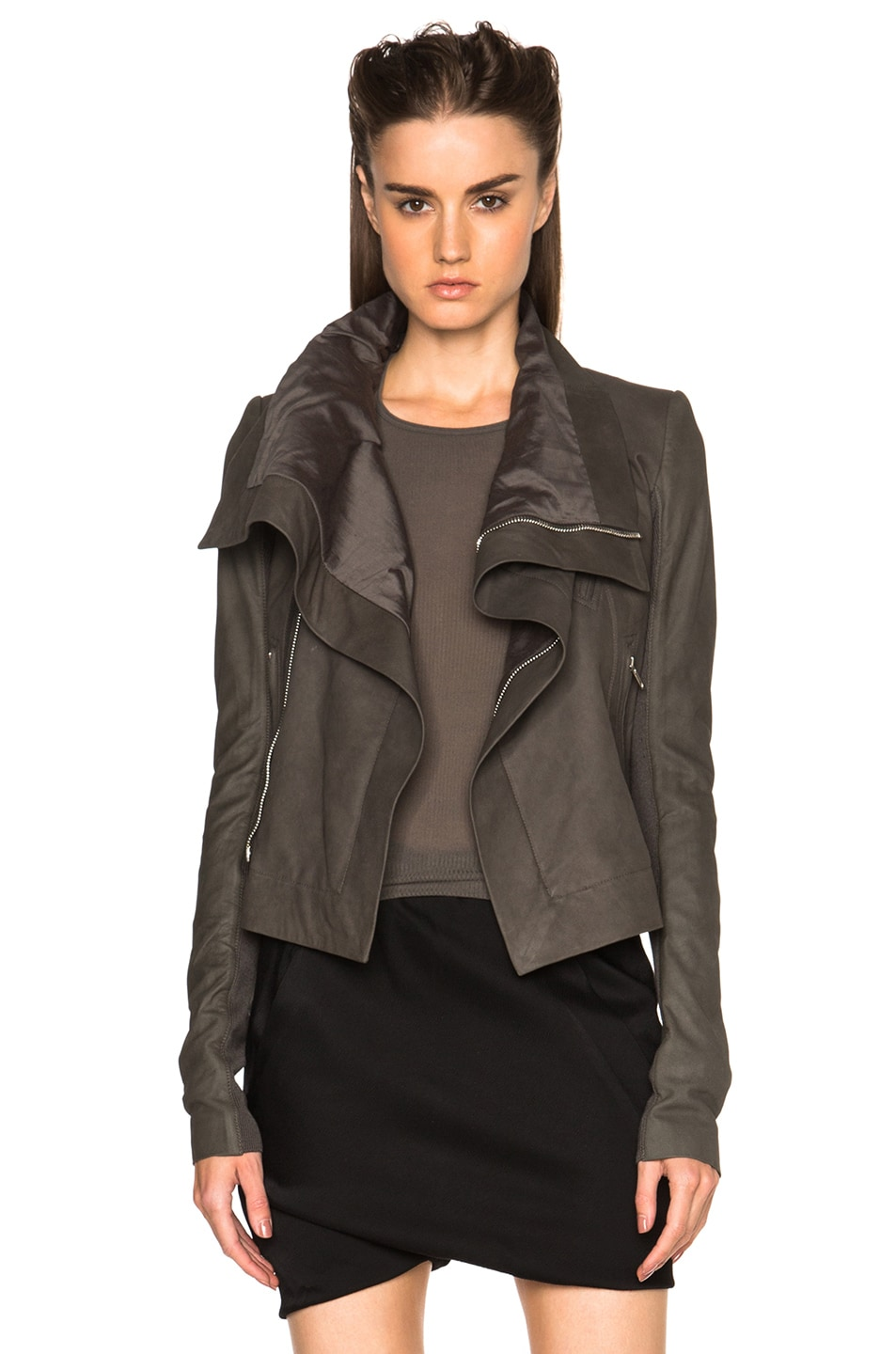 Image 1 of Rick Owens Nuvola Leather Classic Biker Jacket in Dark Dust