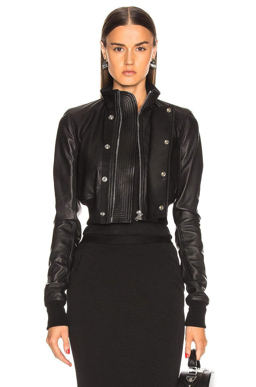 Image 1 of Rick Owens Glitter Egon Leather Jacket in Black