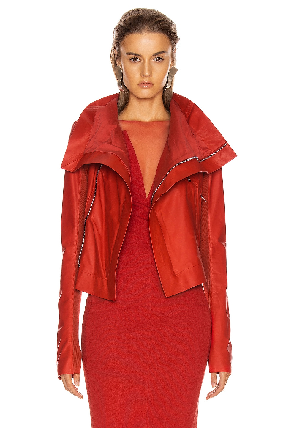 Image 1 of Rick Owens Leather Biker Jacket in Cardinal Red