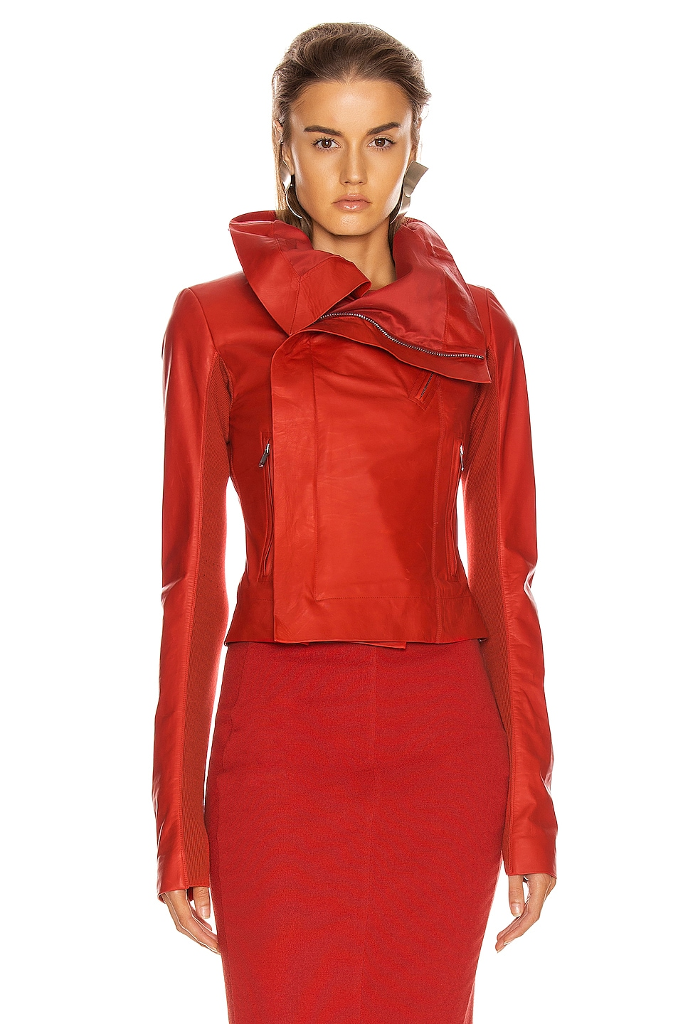 Image 2 of Rick Owens Leather Biker Jacket in Cardinal Red