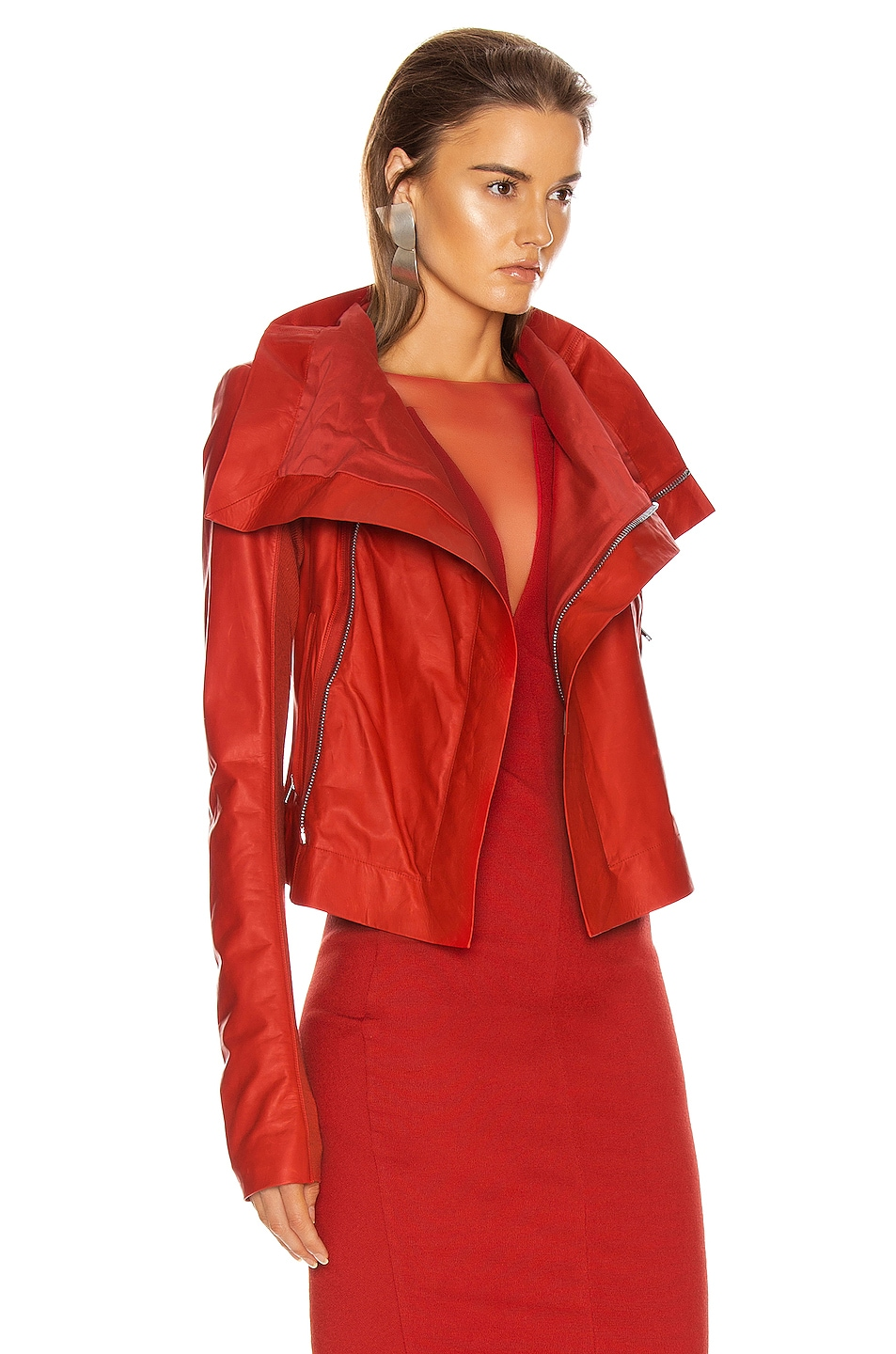 Image 3 of Rick Owens Leather Biker Jacket in Cardinal Red