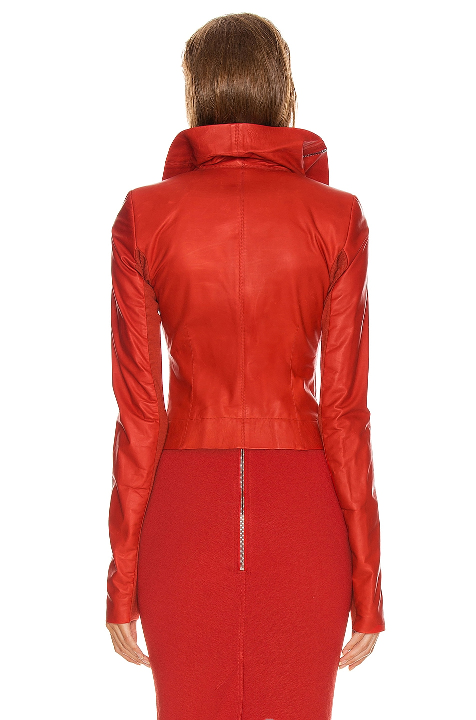 Image 4 of Rick Owens Leather Biker Jacket in Cardinal Red