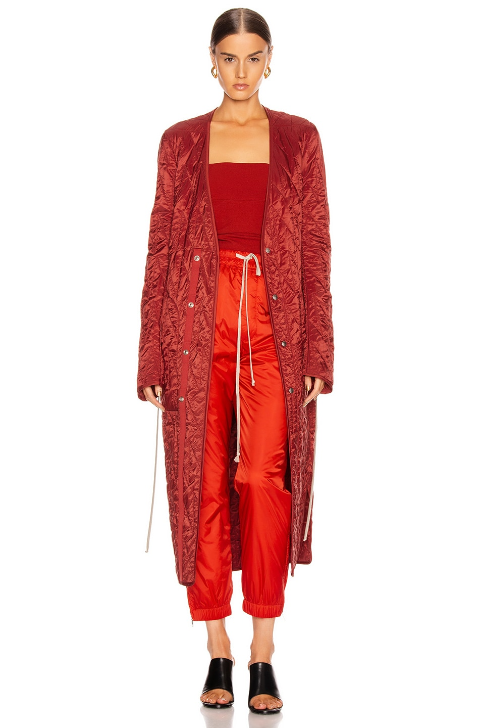Image 1 of Rick Owens Long Quilted Coat in Cherry