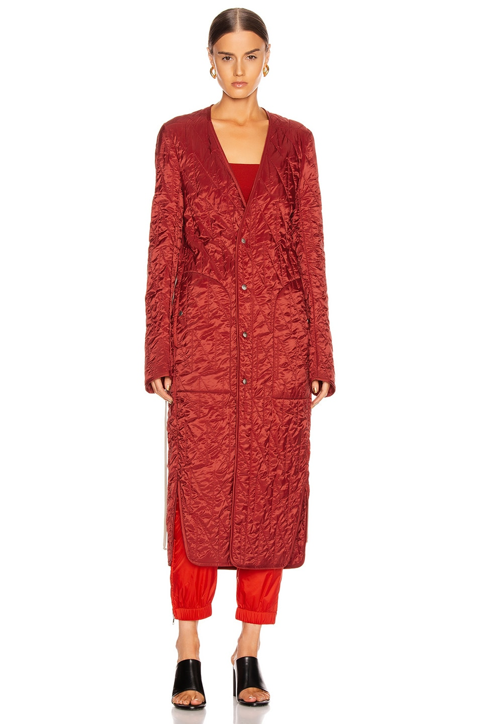 Image 2 of Rick Owens Long Quilted Coat in Cherry