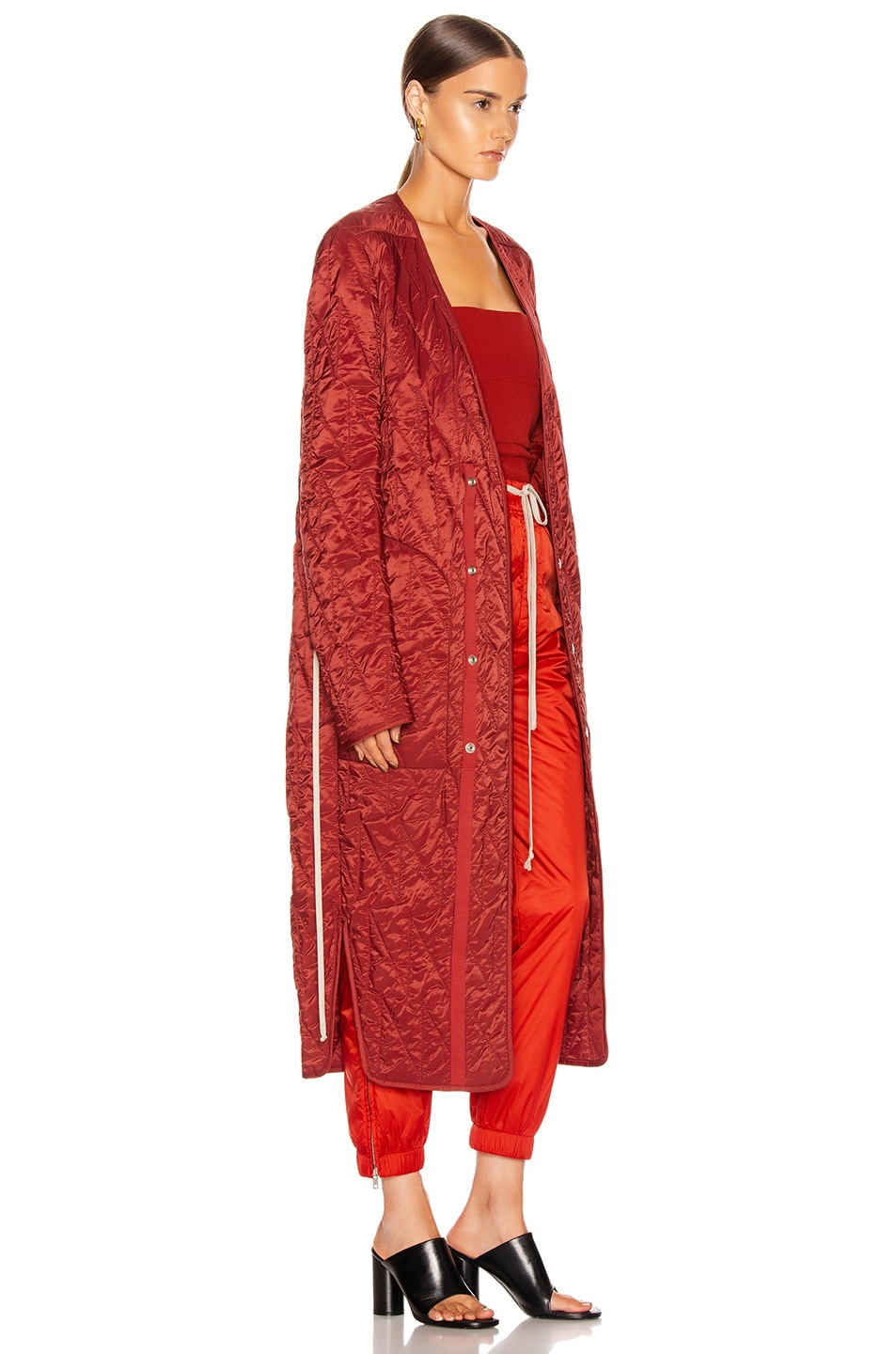 Image 3 of Rick Owens Long Quilted Coat in Cherry