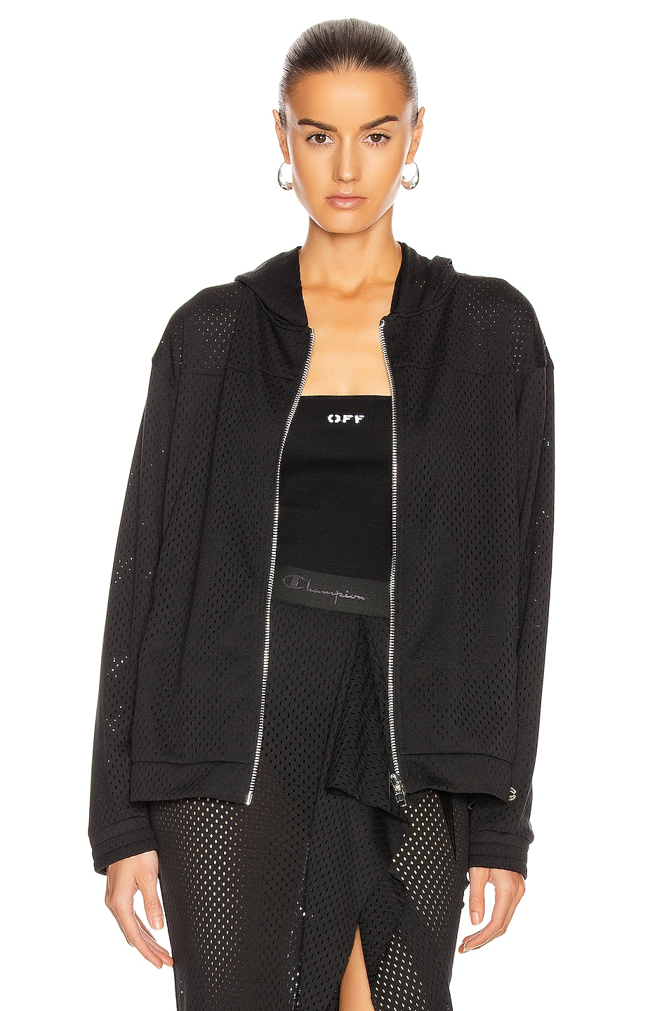 Image 1 of Rick Owens x Champion Mesh Hooded Windbreaker Jacket in Black
