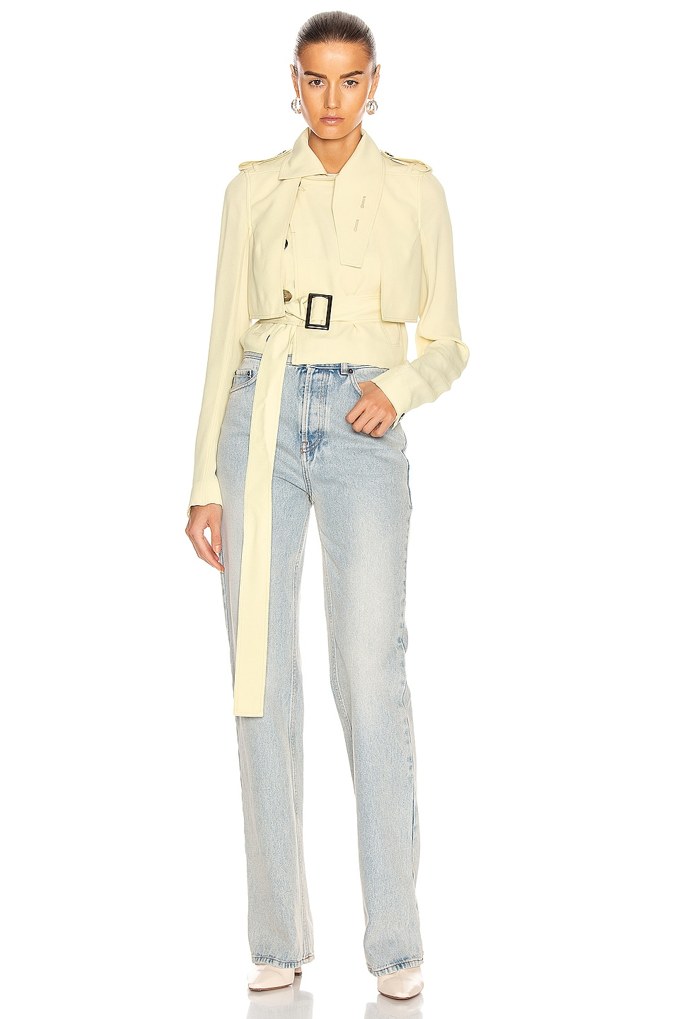 Image 1 of Rick Owens Mini Trench Jacket in Cornsilk