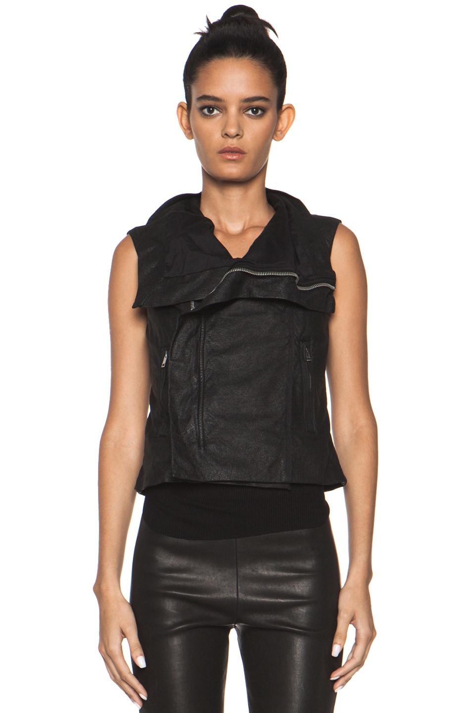 Image 2 of Rick Owens Leather Biker Combo Vest in Black