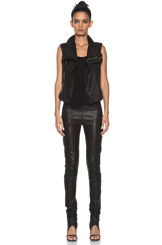 Image 6 of Rick Owens Leather Biker Combo Vest in Black