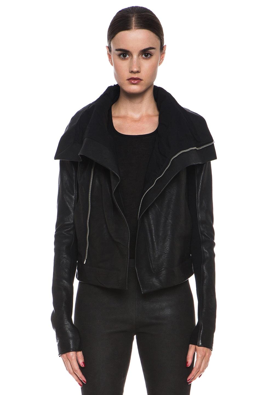 Leather jacket care - Rick Owens Clean Lambskin Leather Biker Jacket In Black Fwrd
