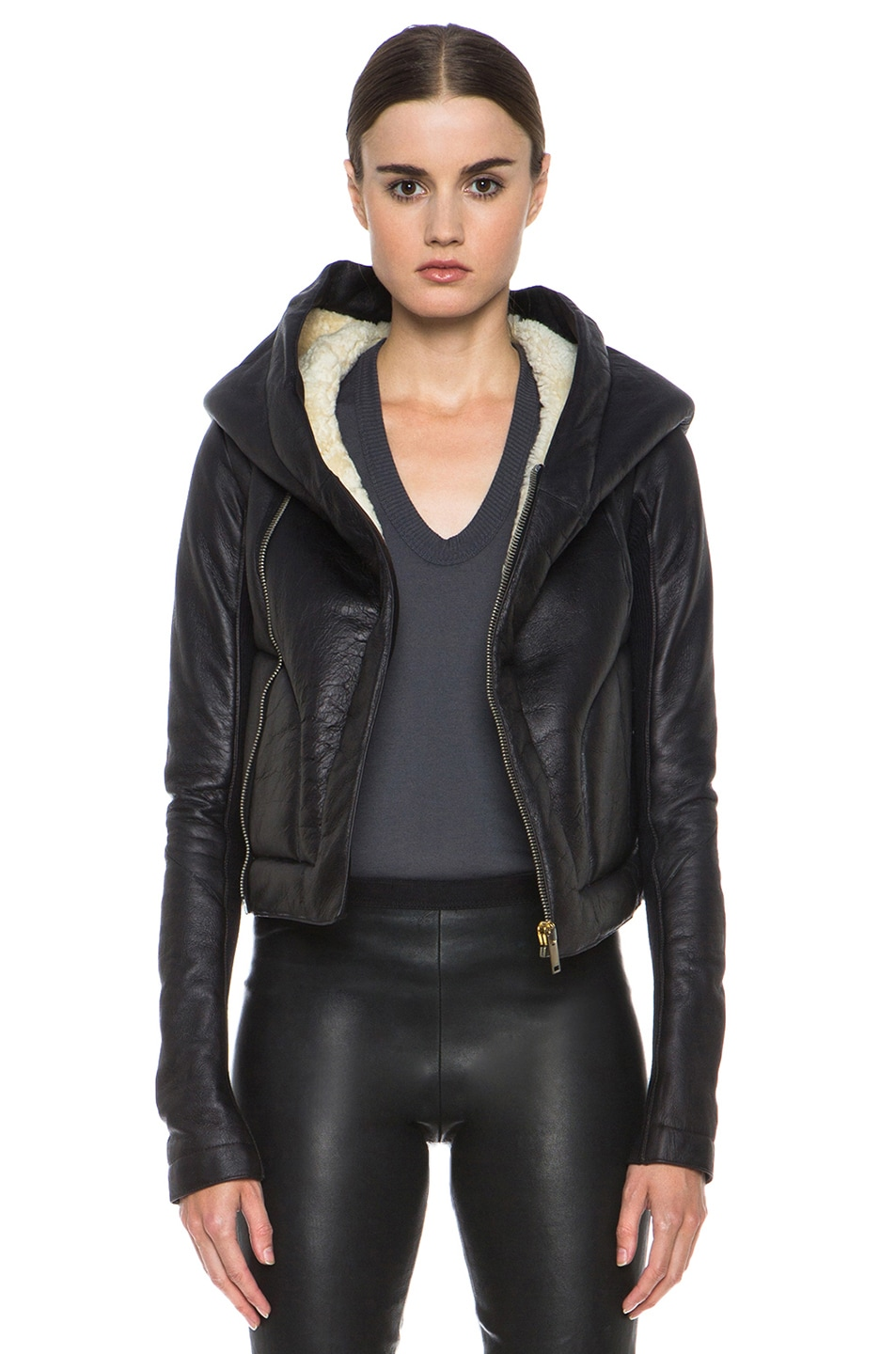 Image 1 of Rick Owens Hooded Biker Leather and Shearling Jacket in Black & Parchment