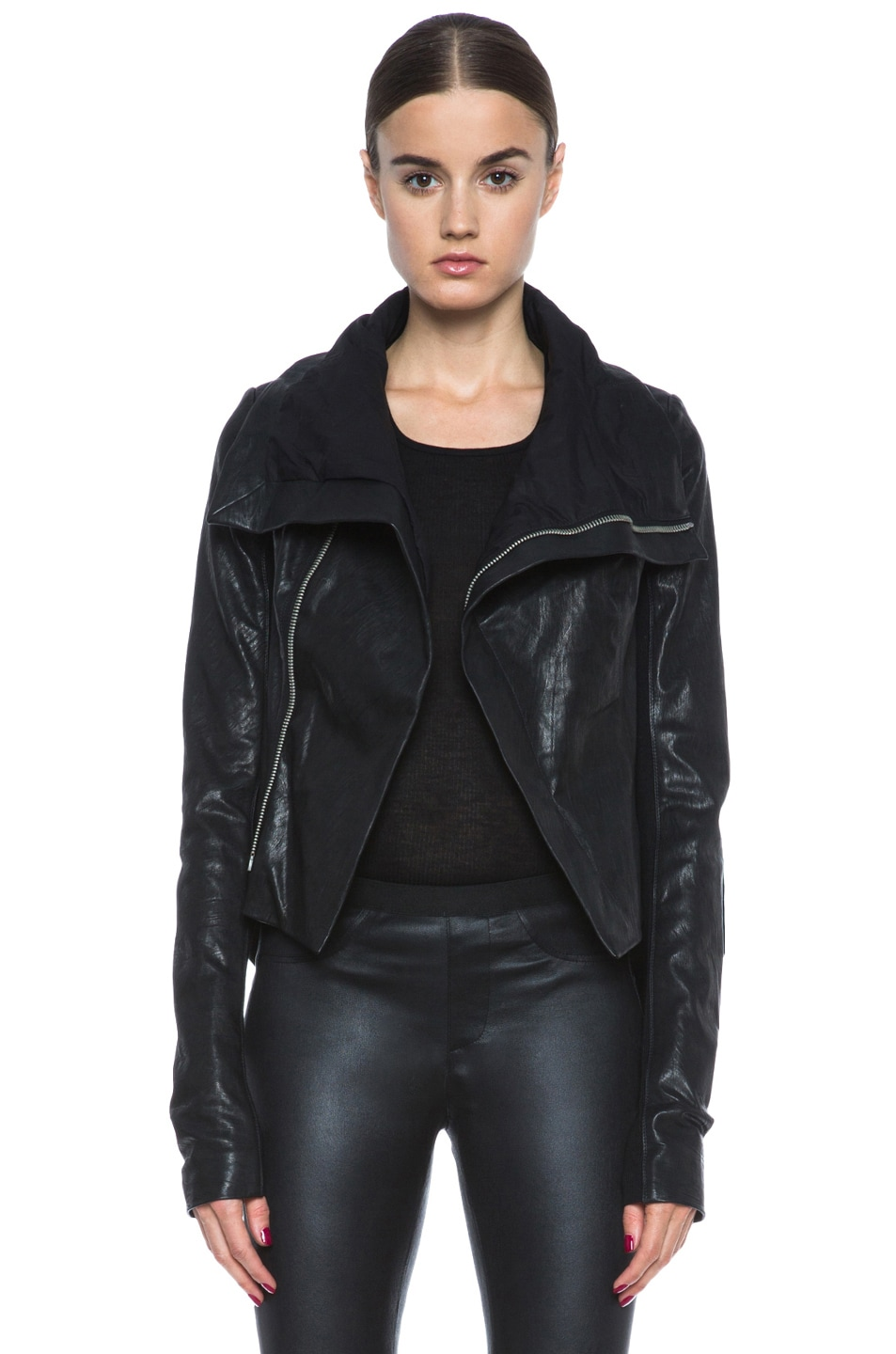 ac75f849d8 Image 1 of Rick Owens Naska Lambskin Leather Biker Jacket in Black