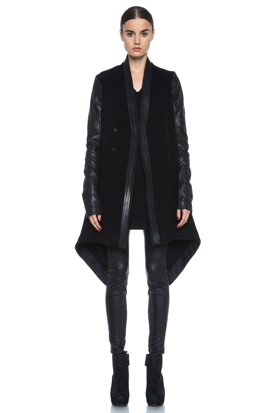 Image 1 of Rick Owens Oblique Double Breasted Wool-Blend Coat in Black