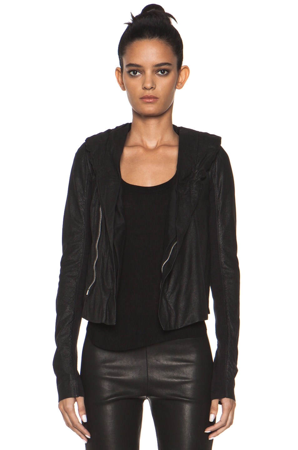 Image 1 of Rick Owens Leather Giacca Pelle Hooded Jacket in Black