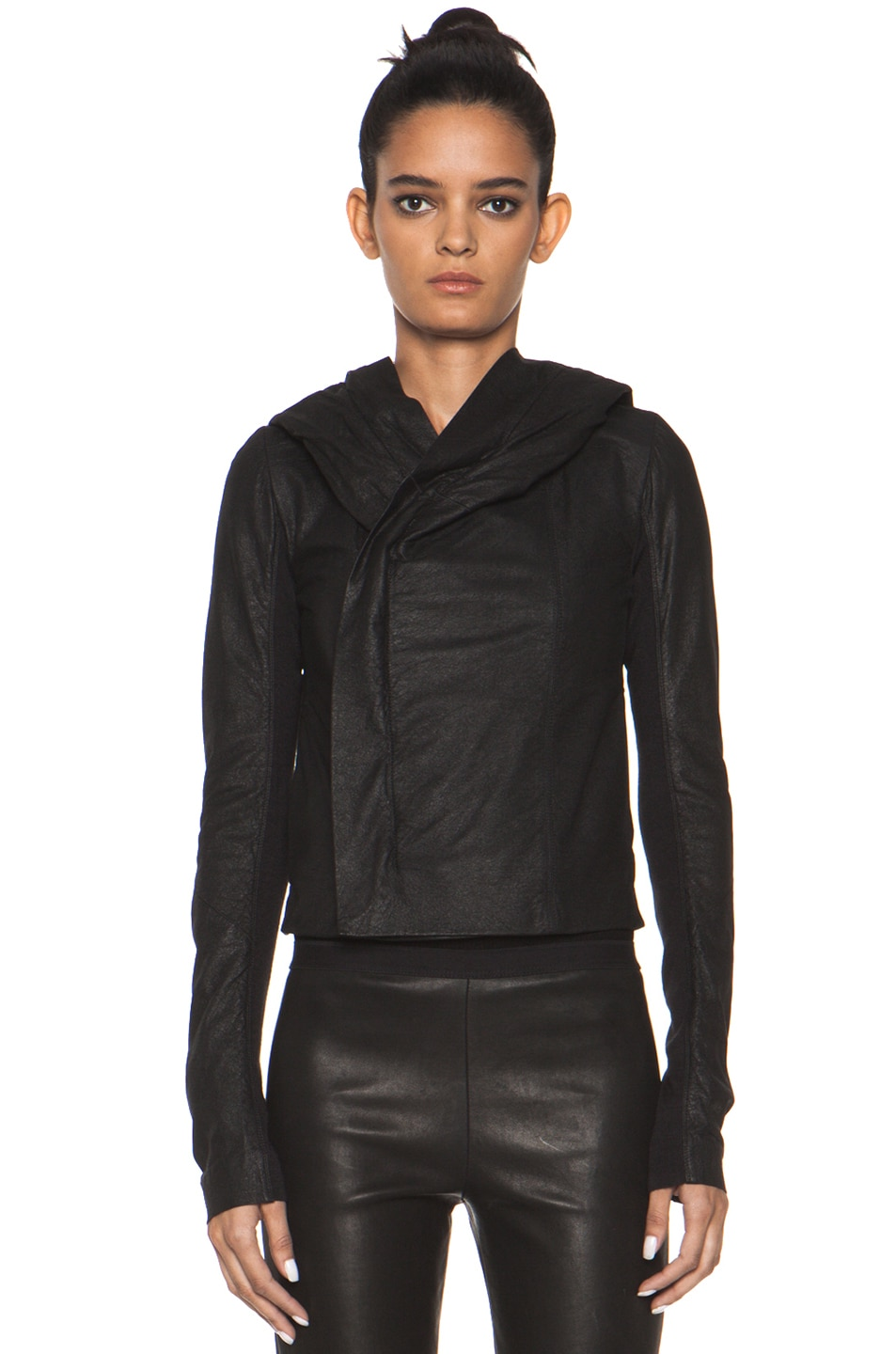 Image 2 of Rick Owens Leather Giacca Pelle Hooded Jacket in Black