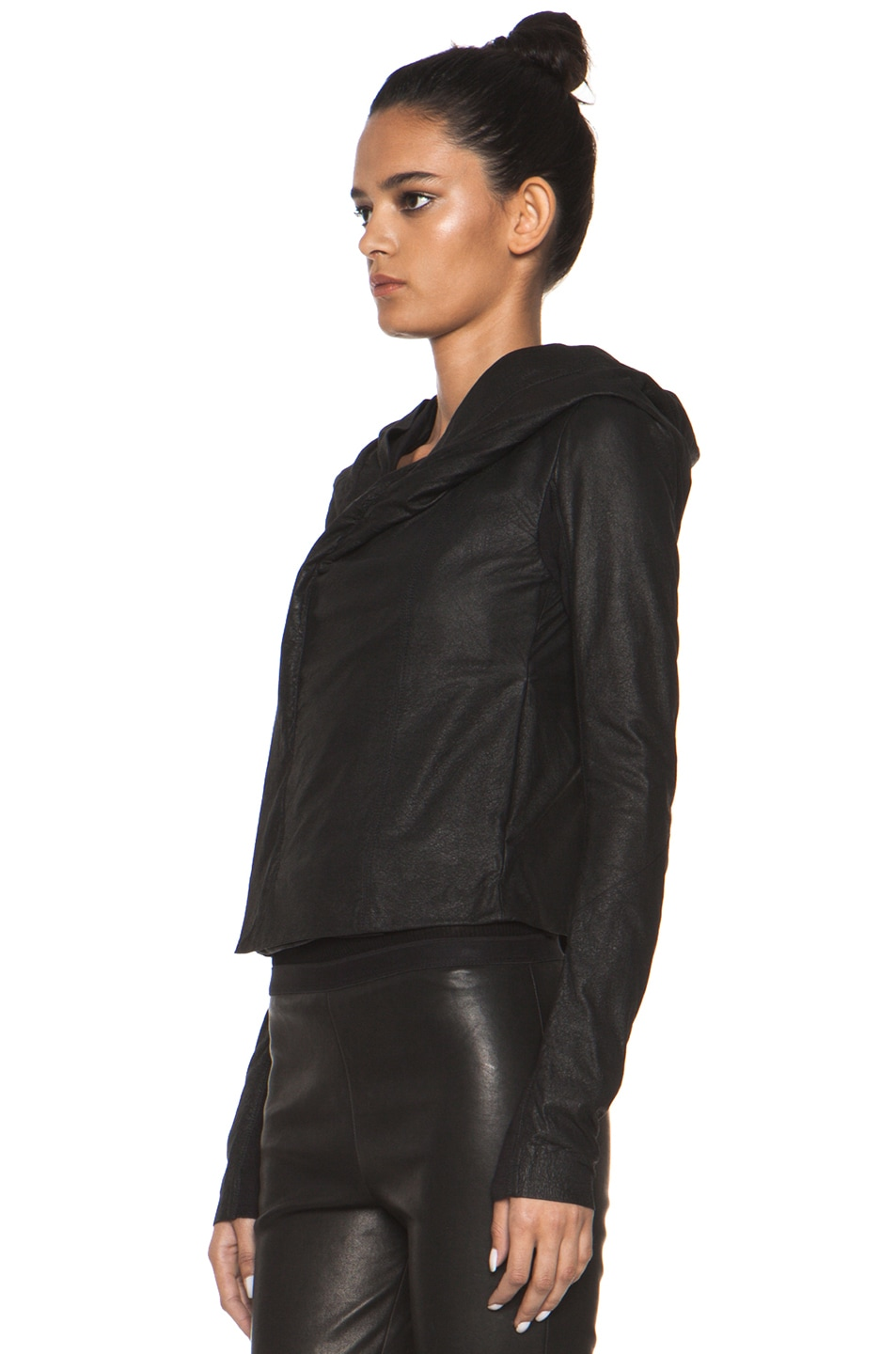 Image 3 of Rick Owens Leather Giacca Pelle Hooded Jacket in Black