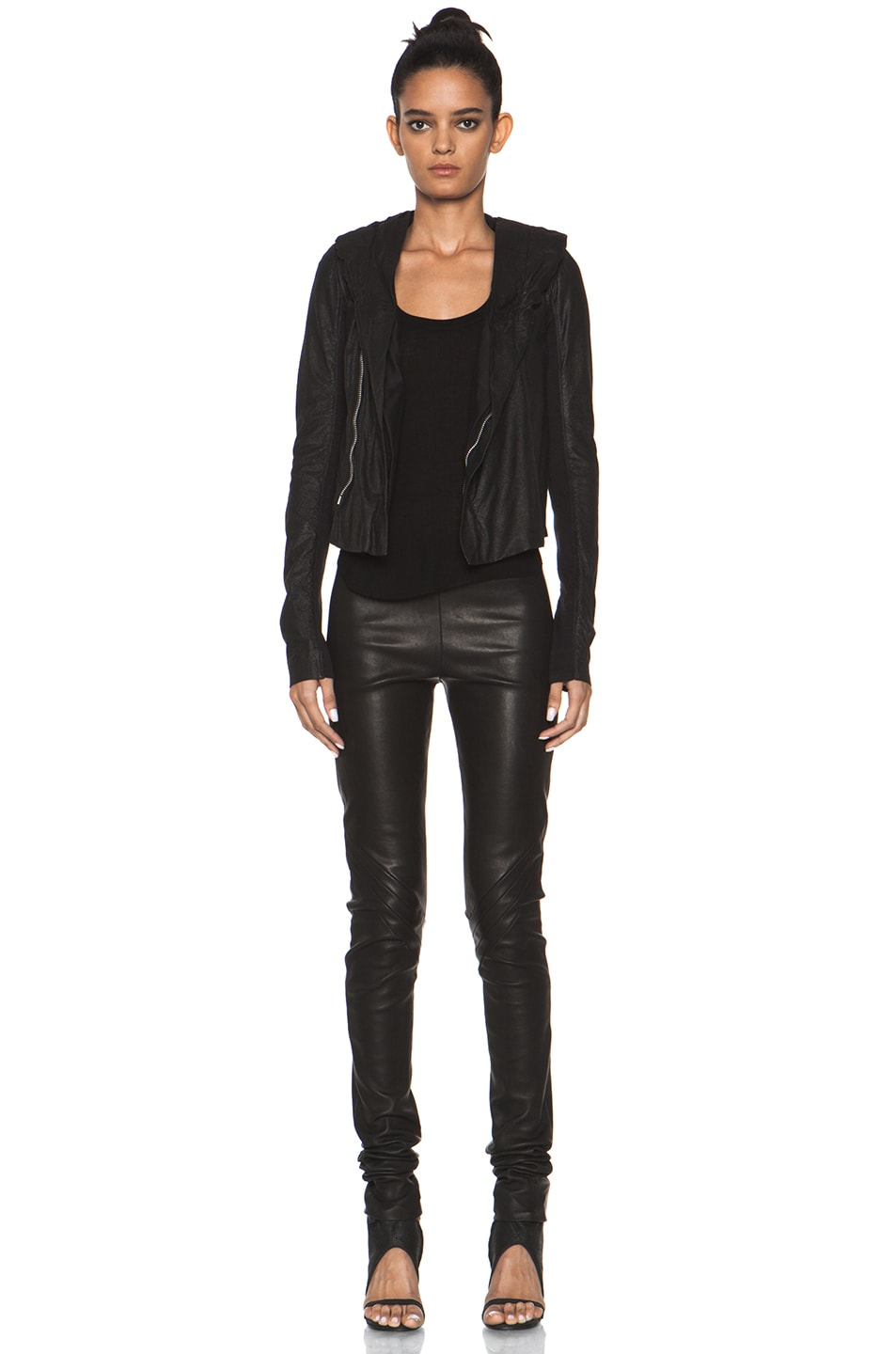Image 6 of Rick Owens Leather Giacca Pelle Hooded Jacket in Black