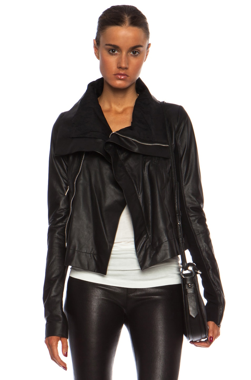 Image 1 of Rick Owens Classic Lambskin Biker Jacket in Black