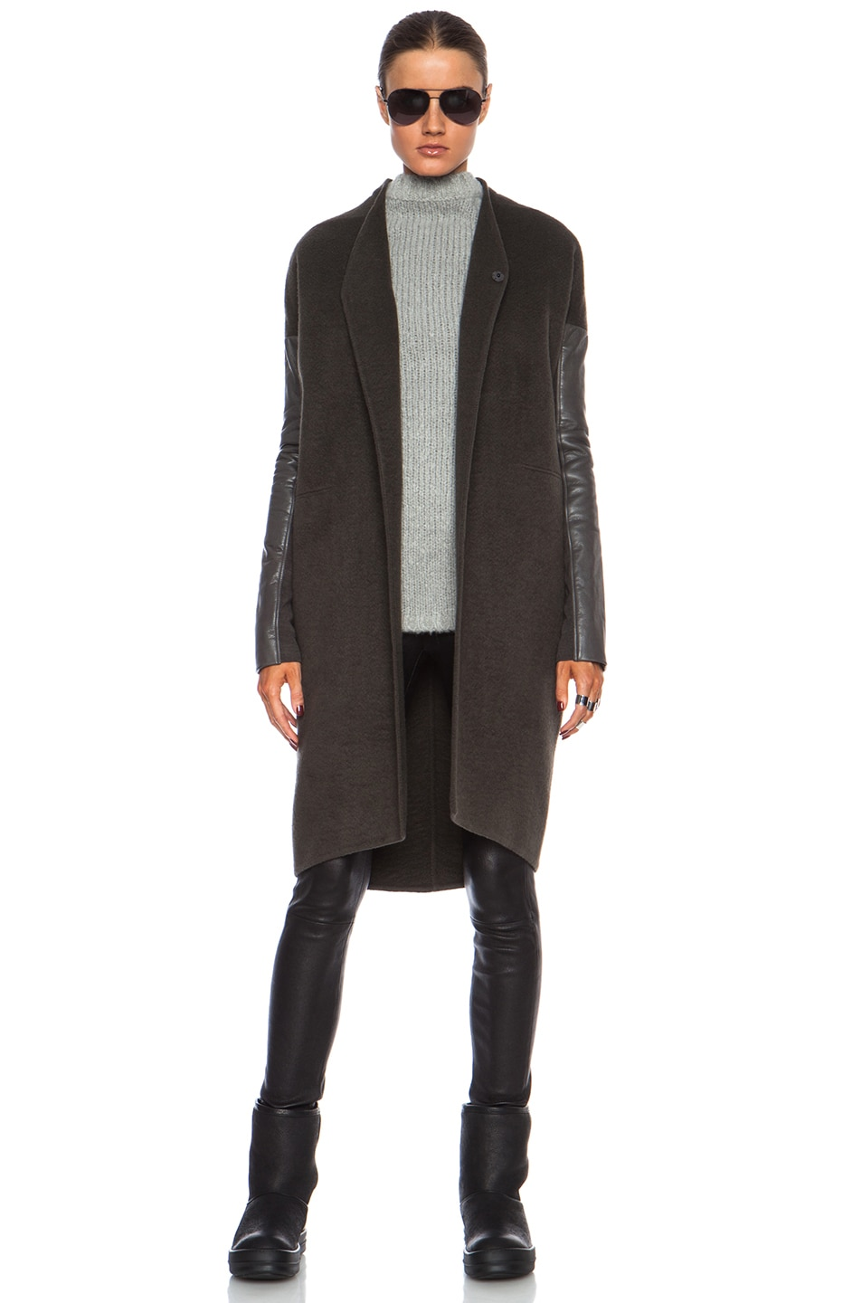 Image 1 of Rick Owens Dagger Cashmere Peacoat with Leather Sleeves in Dark Dust
