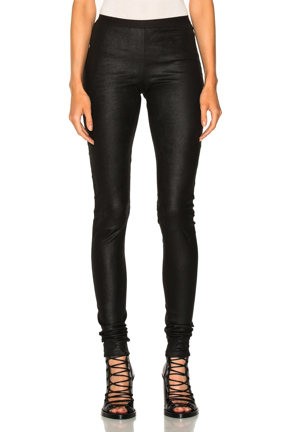 Image 1 of Rick Owens Leather Legging in Black