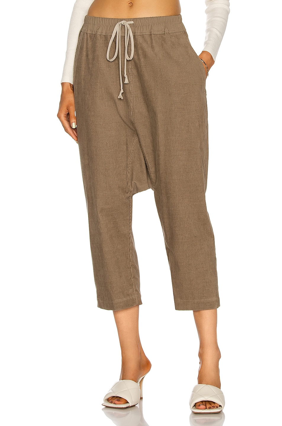 Image 1 of Rick Owens Drawstring Cropped Pant in Dirt