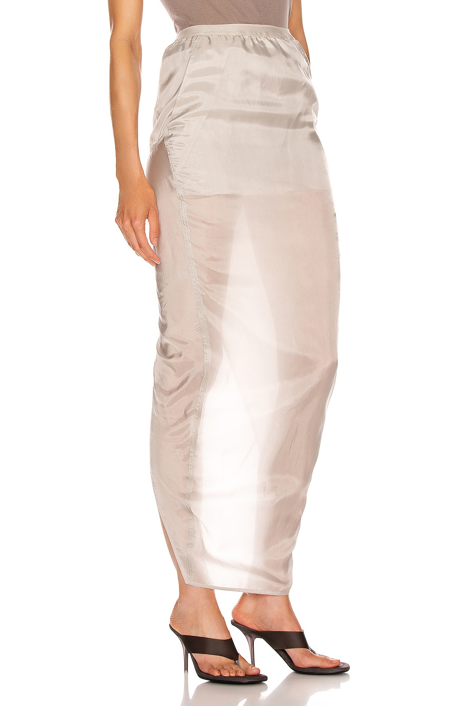 Image 2 of Rick Owens Soft Pillar Skirt in Oyster