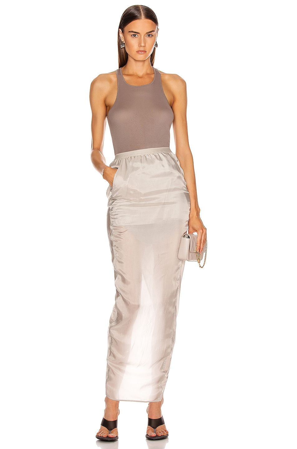 Image 4 of Rick Owens Soft Pillar Skirt in Oyster