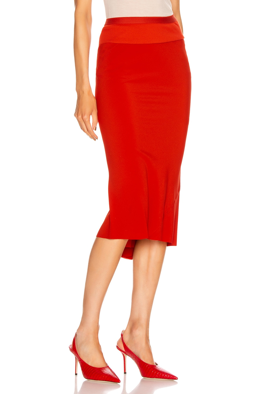 Image 2 of Rick Owens Knee Length Skirt in Cardinal Red