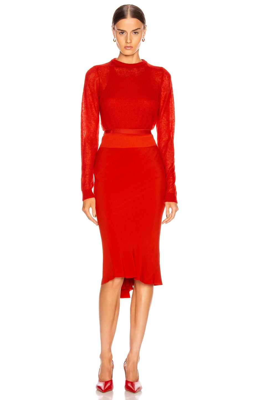 Image 4 of Rick Owens Knee Length Skirt in Cardinal Red