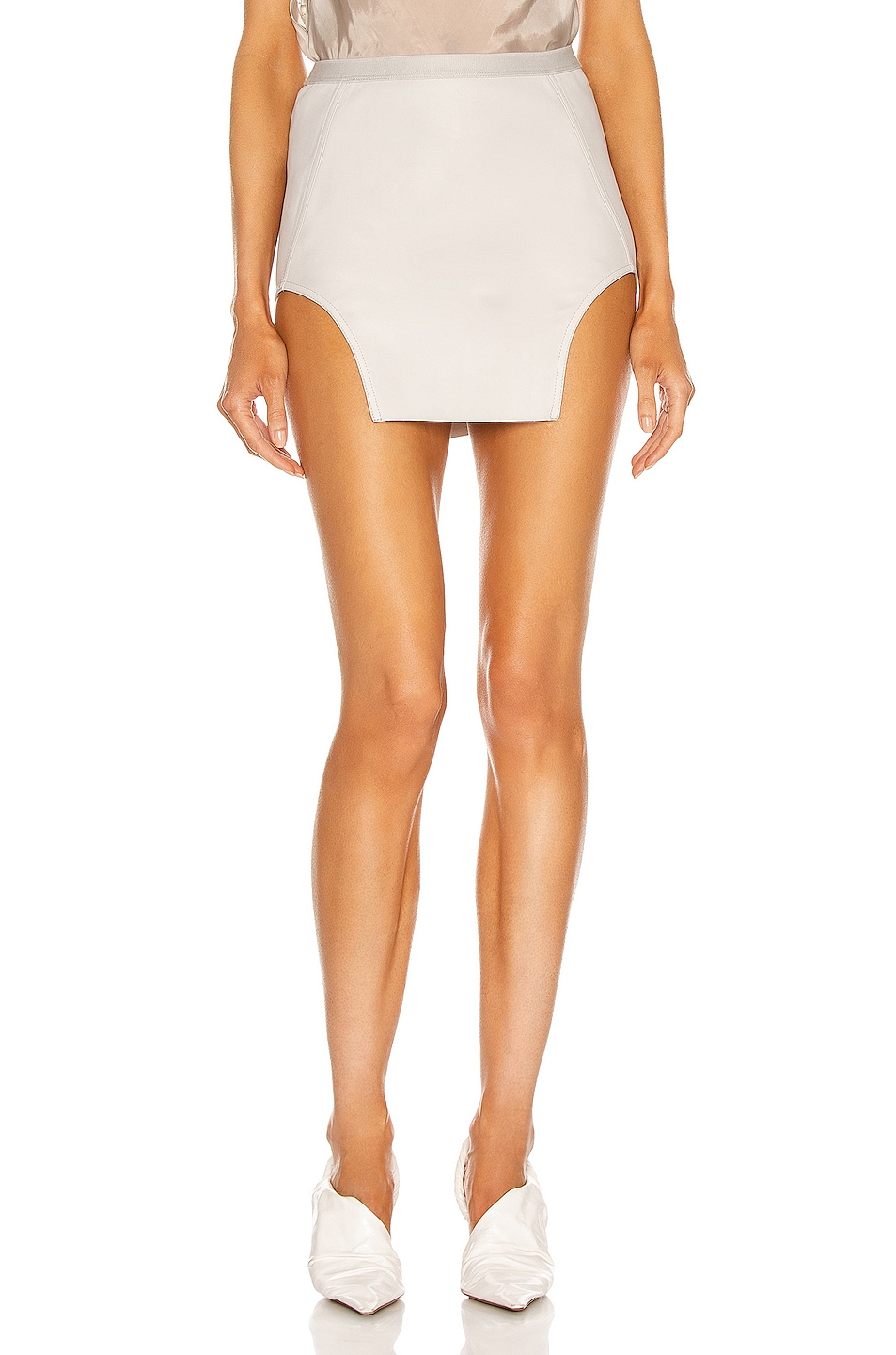 Image 1 of Rick Owens Diana Leather Mini Skirt in Oyster