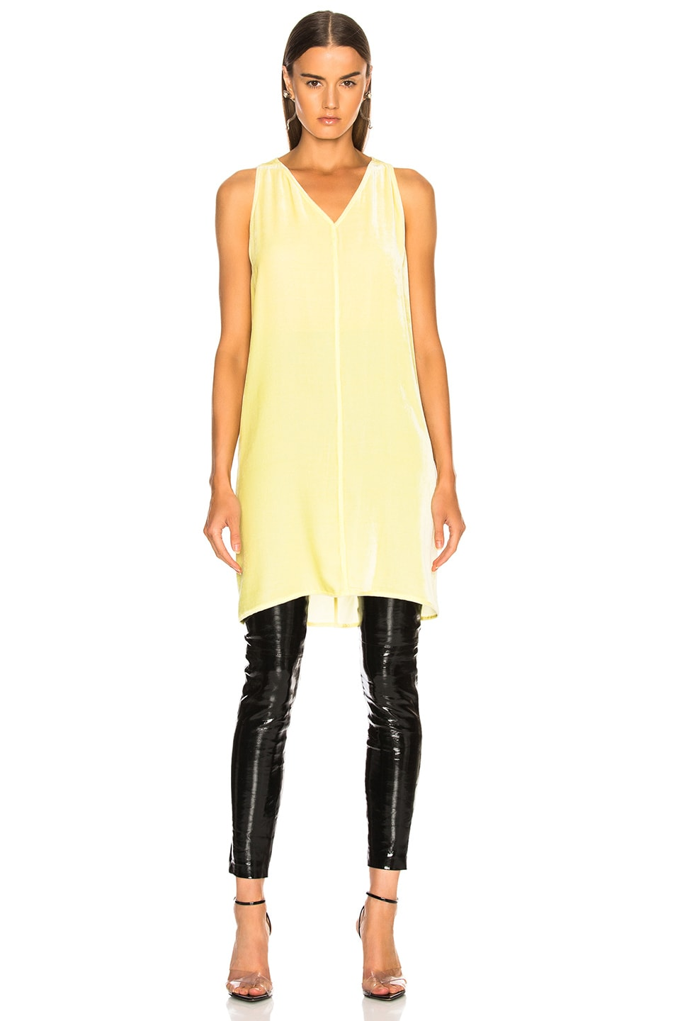 Image 2 of Rick Owens Velvet Tunic Tank Top in Lime