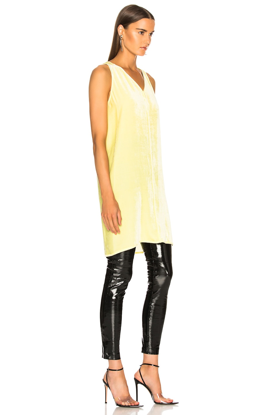 Image 3 of Rick Owens Velvet Tunic Tank Top in Lime
