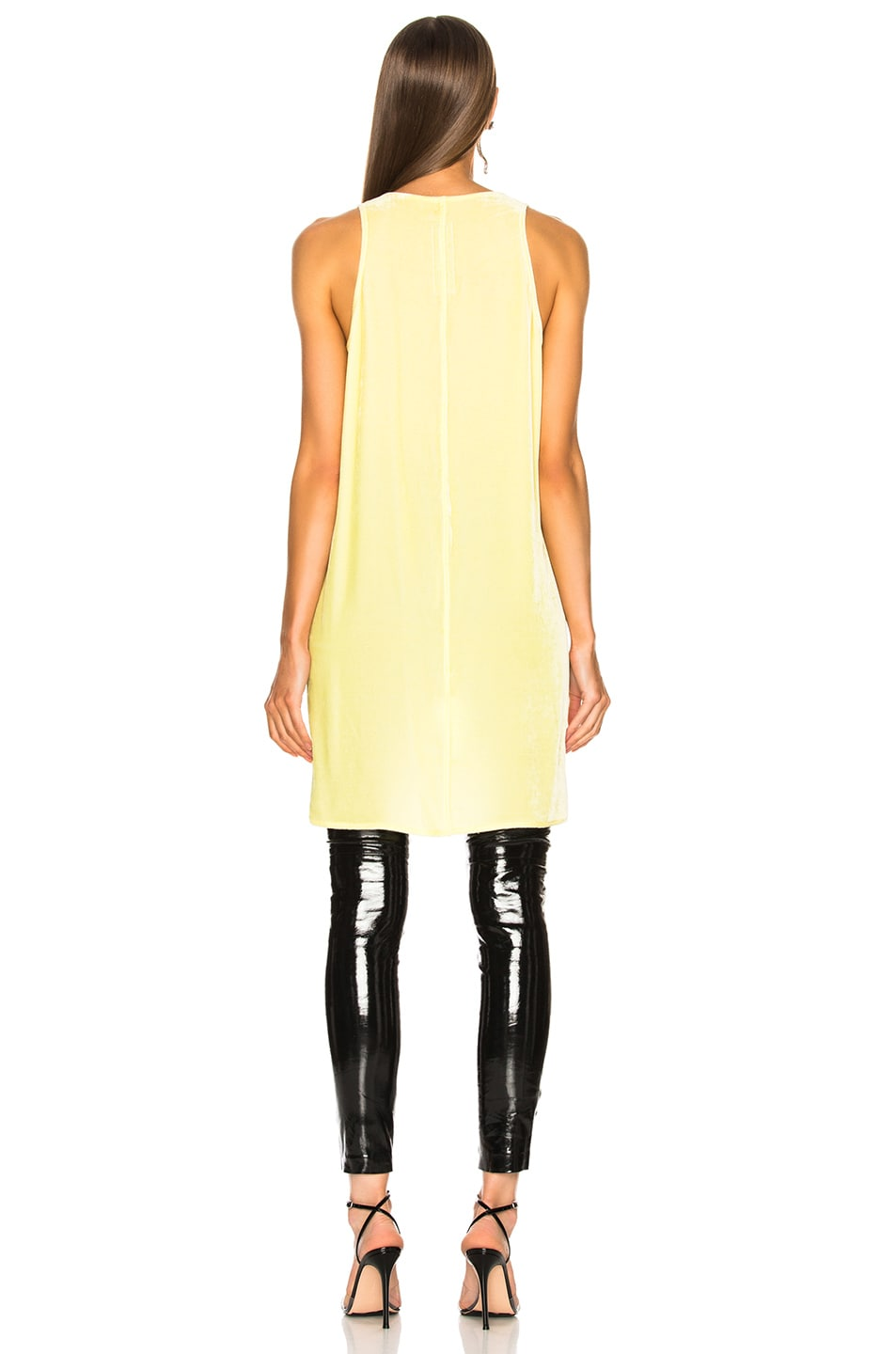 Image 4 of Rick Owens Velvet Tunic Tank Top in Lime