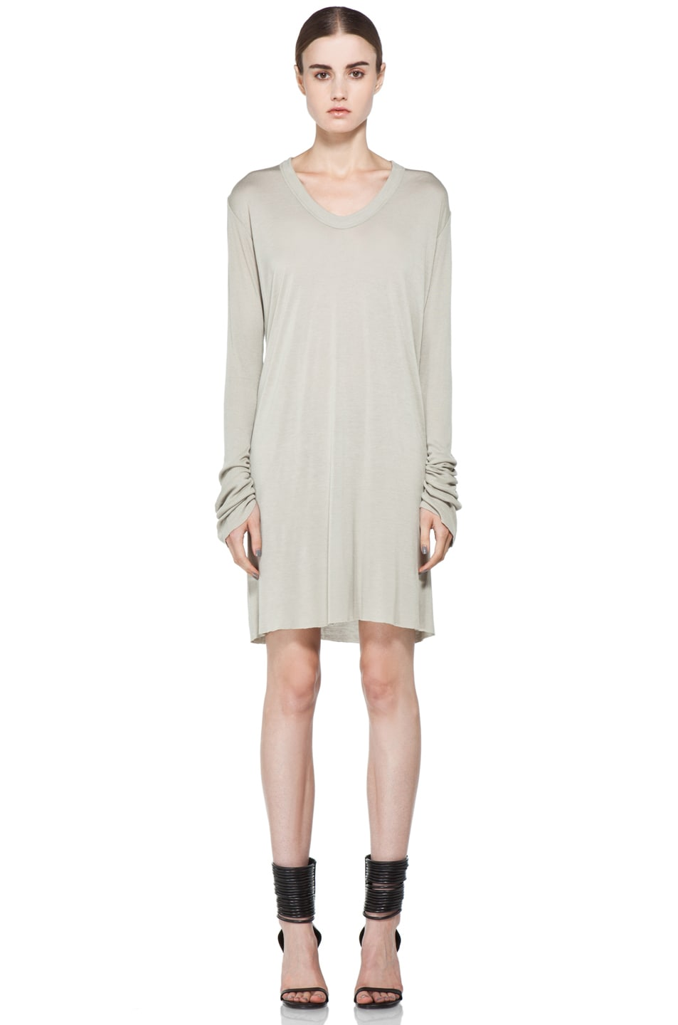 Image 1 of Rick Owens V Neck Long Sleeve Tunic in Pearl
