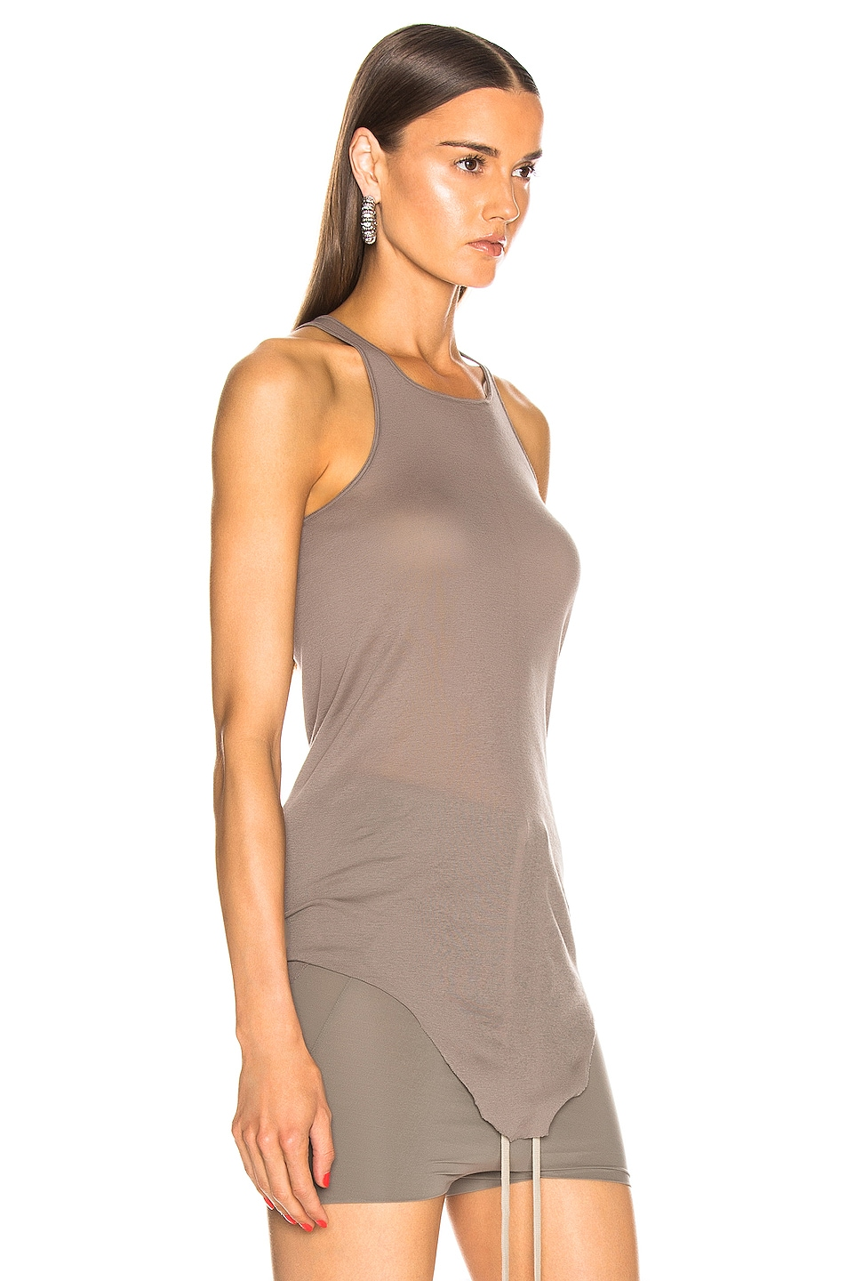 Image 2 of Rick Owens Basic Rib Tank Top in Dust
