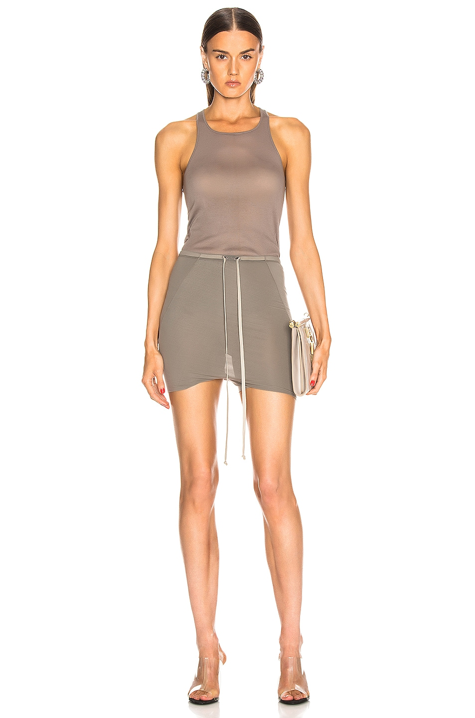 Image 4 of Rick Owens Basic Rib Tank Top in Dust