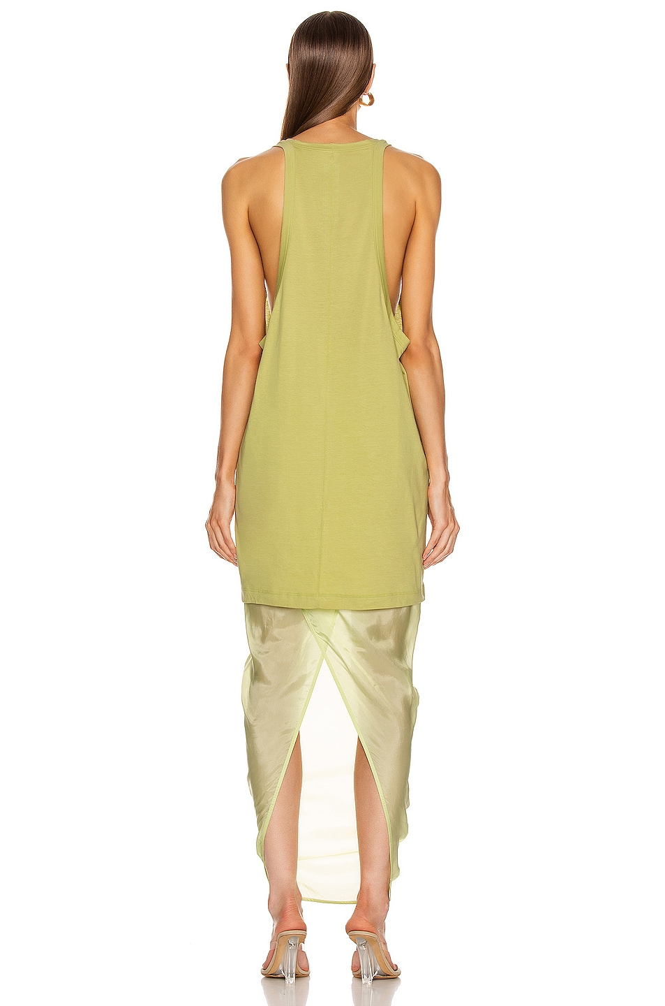 Image 3 of Rick Owens Open Tank Top in Dark Lime