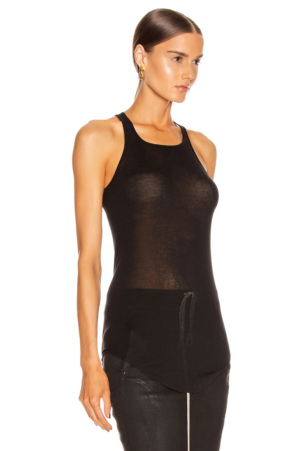 Image 3 of Rick Owens Basic Rib Tank Top in Black