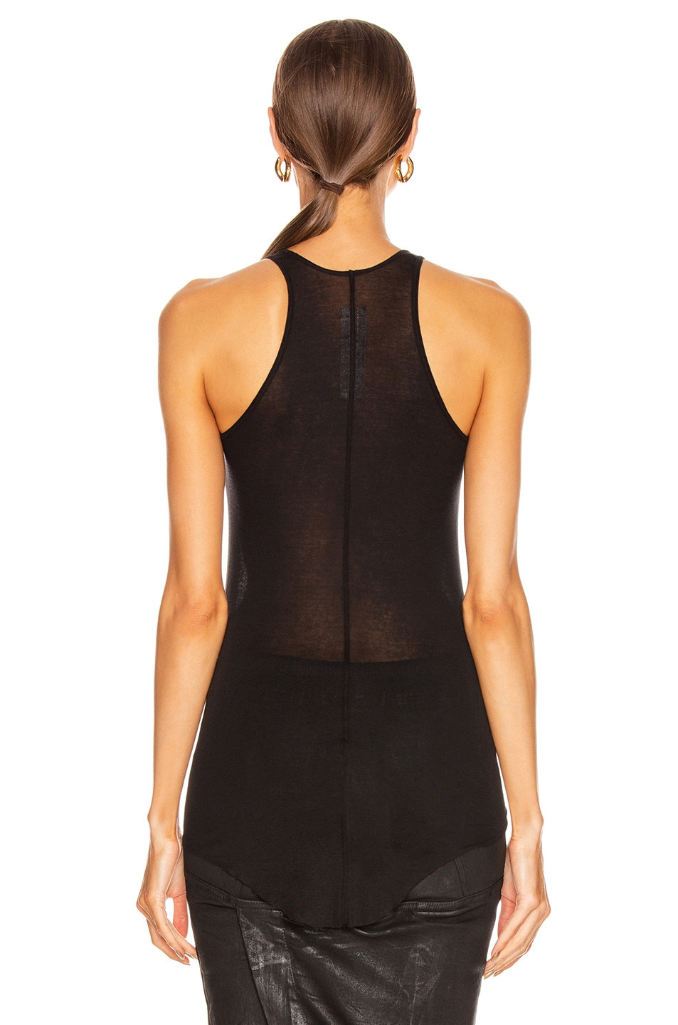 Image 4 of Rick Owens Basic Rib Tank Top in Black