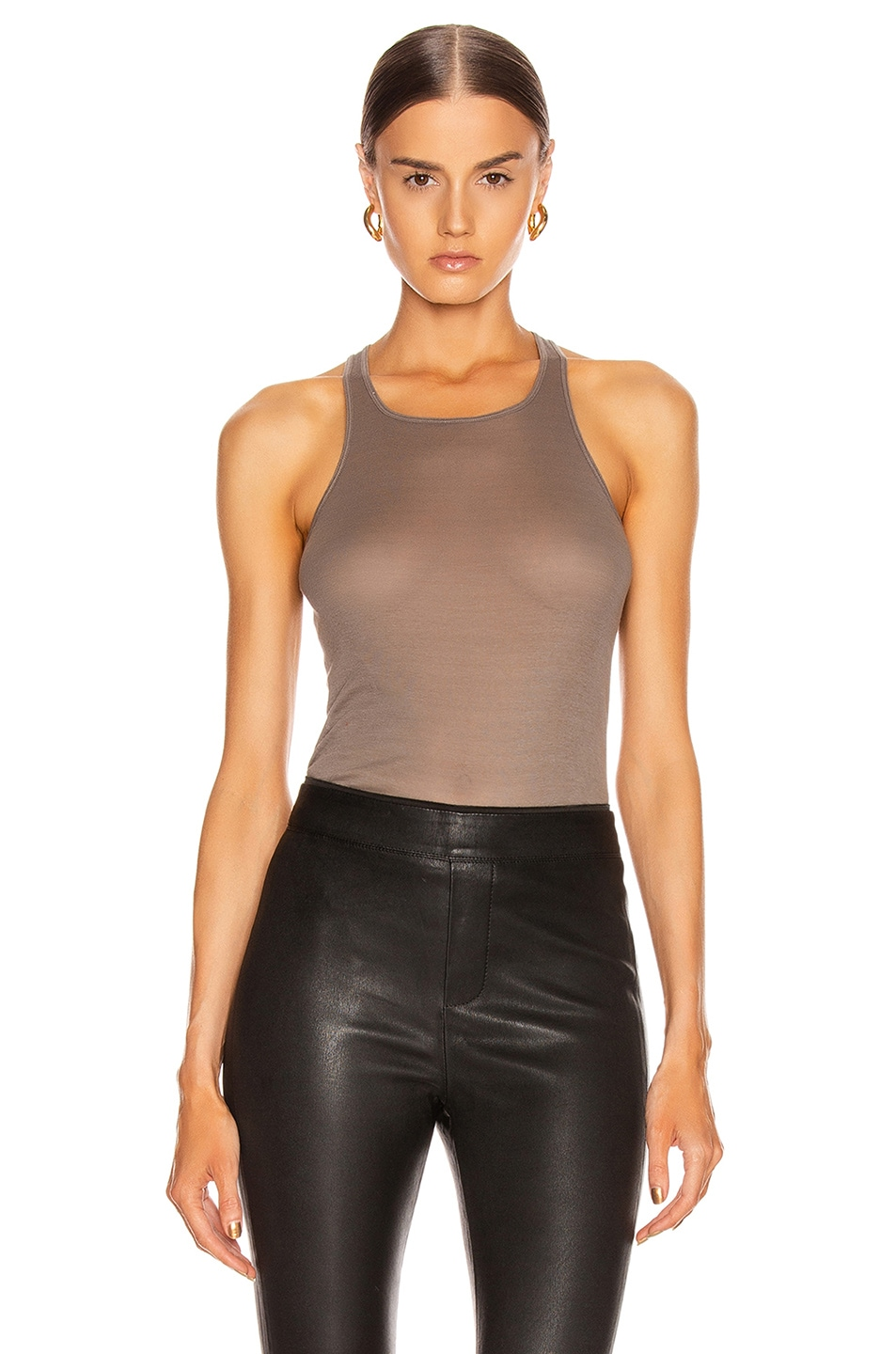 Image 1 of Rick Owens Basic Rib Tank Top in Black in Dust